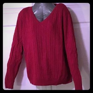 Lane Bryant Red Cable Knit V-Neck Sweater